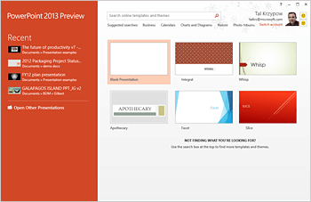 Powerpoint 2013 start screen