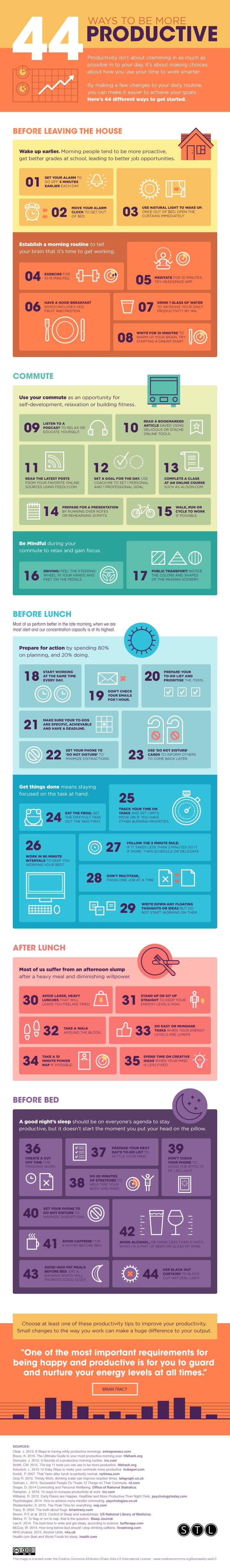 44 ways to be more productive