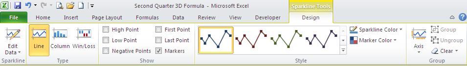 Excel London Training Centre - Excel Sparkline Ribbon