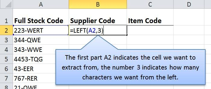 Microsoft Excel 2010 - Extract Data From a Cell Using LEFT Function
