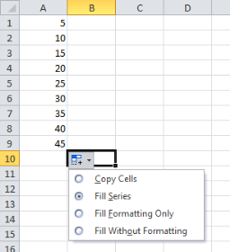 how to put a number sequence in excel