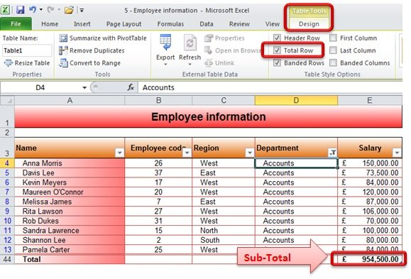 how to add subtotal in excel 2010