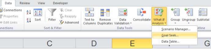 Excel Data Tools Goal Seek Ribbon Bar