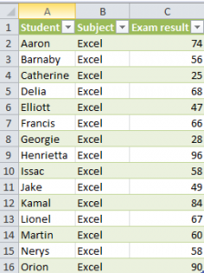 student database in excel format