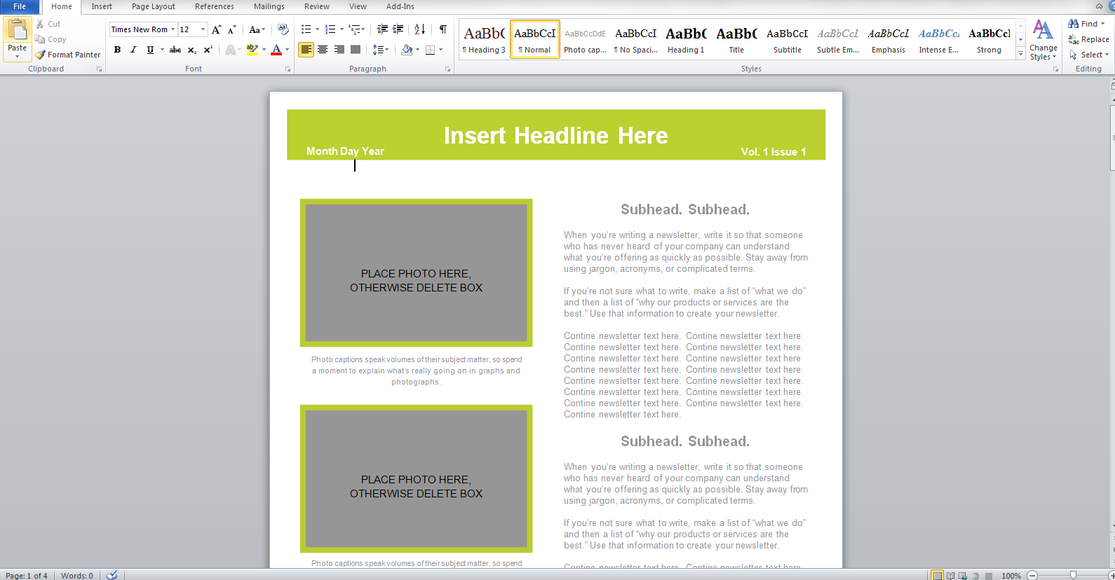 word 2010 newsletter templates