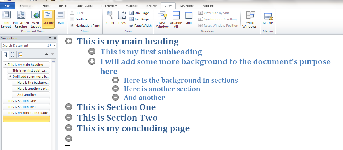 using the outline view in word 2010