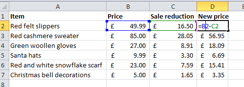 How to calculate percentage reduction using Excel formulas