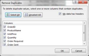 Excel remove duplicates wizard