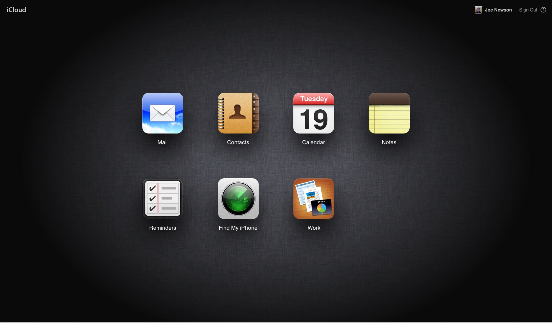 A Screenshot of Apple's iCloud Desktop Interface