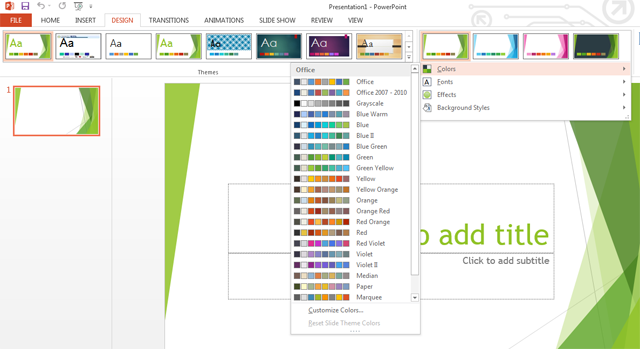 colour design themes in photoshop 2013