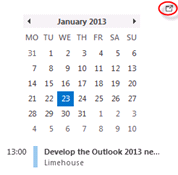 Peek at calendar in Excel 2013