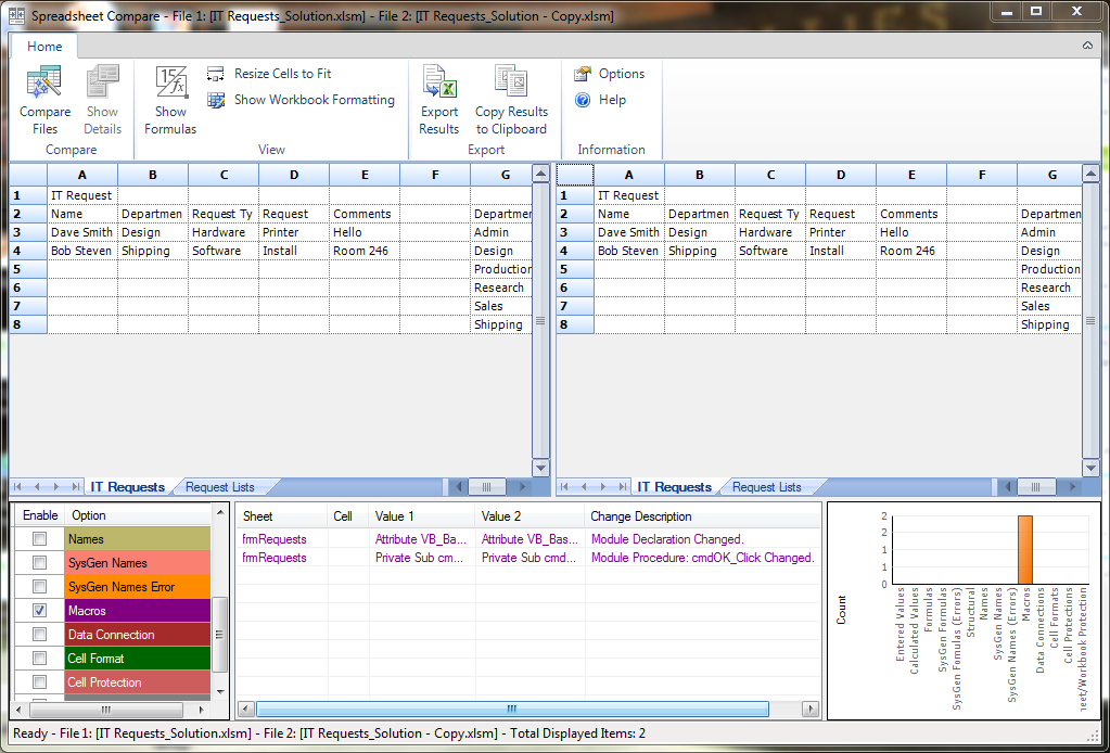 Cells inquire will also check for changes within the visual basic