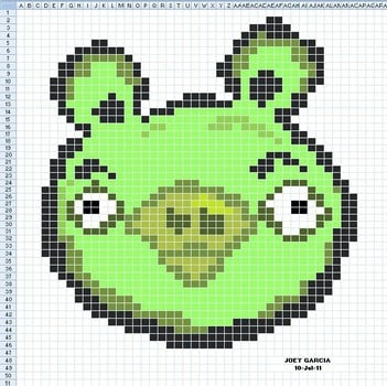 angry birds spreadsheet art