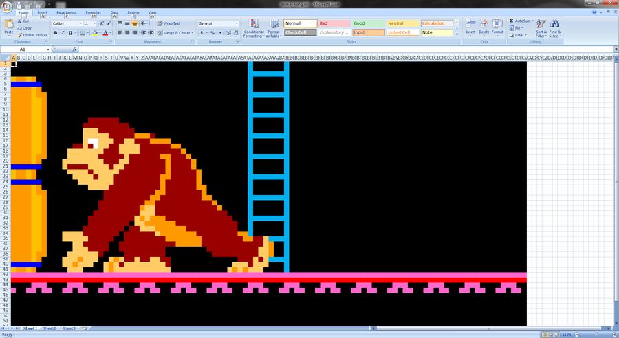 donkey kong spreadsheet art