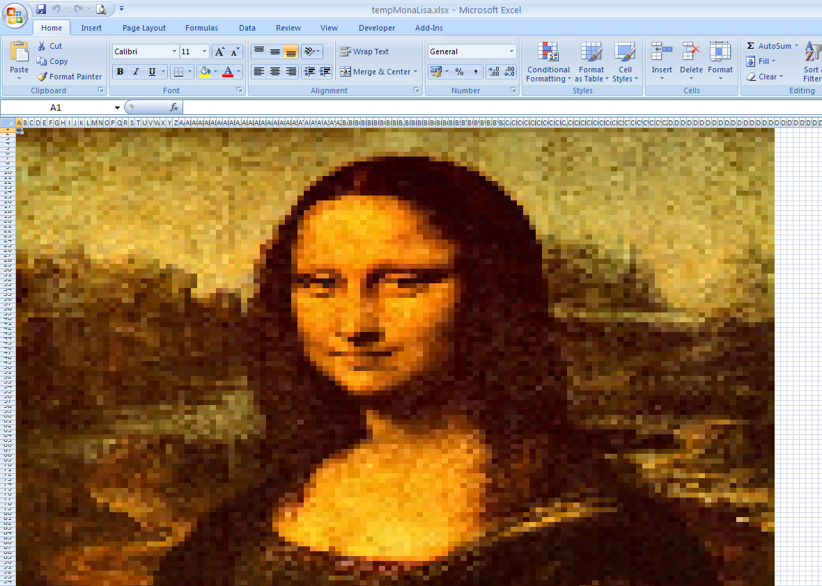 mona lisa spreadsheet art