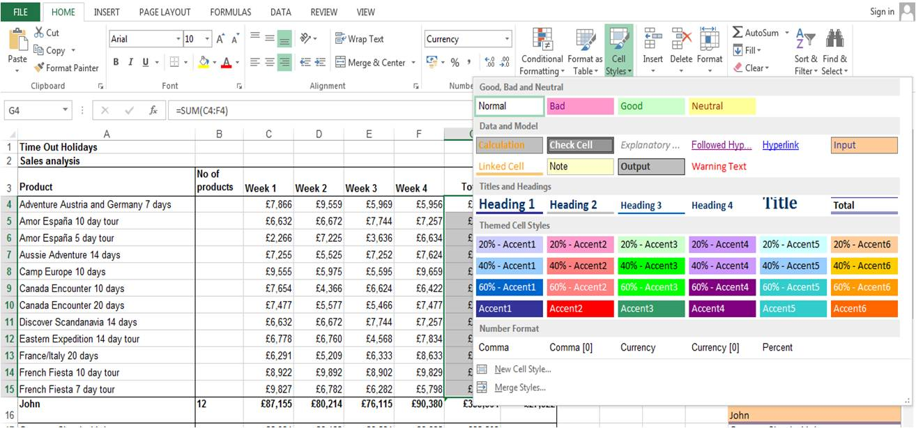 Using the Total cell style in Excel 2010