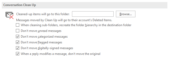Use the Outlook Clean Up tool to organise folders